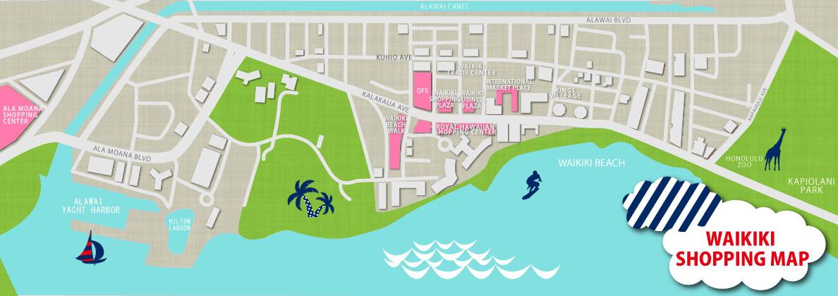 夏威夷 購物 Waikiki Shopping Map